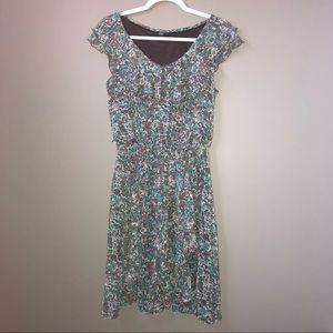 Blue, White, & Brown Midi Ruffled Dress